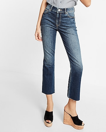 high waisted dark wash bell cropped jeans
