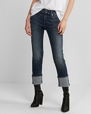 Express Womens Mid Rise Stretch Cuffed Cropped Skinny Jeans