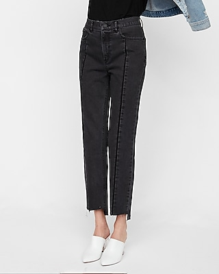 Express Womens High Waisted Black Straight Cropped Stretch Jeans