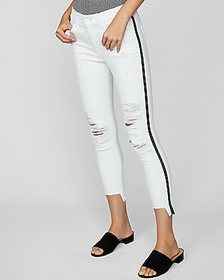 Express Womens Mid Rise Side Stripe Ripped Stretch Cropped Jeggings, Women's Size:8 White 8