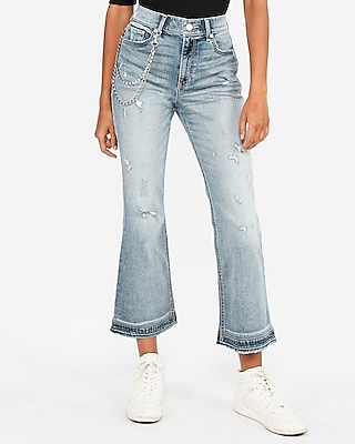 Express Womens High Waisted Original Vintage Cropped Flare Jeans