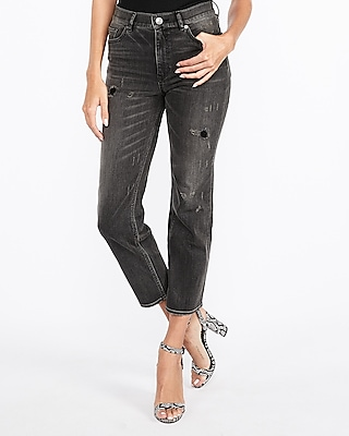 Express Womens High Waisted Original Straight Cropped Jeans, Women's Size:16 Black 16
