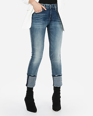 Express Womens Mid Rise Denim Perfect Cuffed Cropped Skinny Jeans