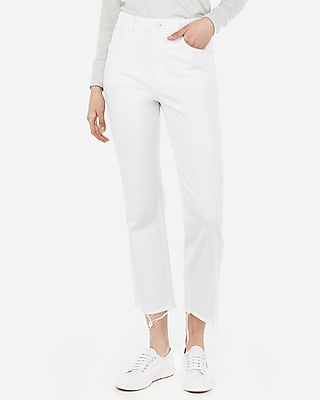 Express Womens High Waisted White Straight Cropped Jeans, Women's Size:00 White 00