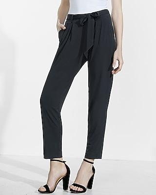 Express Womens Petite Mid Rise Jersey Sash Pant