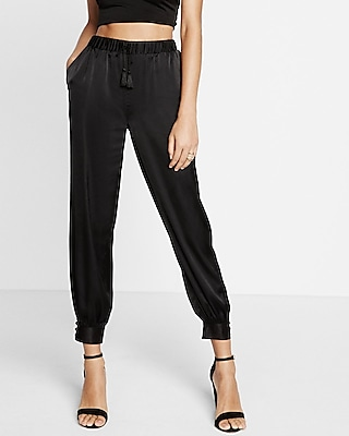Express Womens Mid Rise Tie Front Jogger Pant