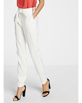 Express Womens Linen-Blend Sash Waist Ankle Pant