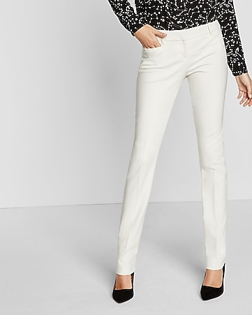 ivory low rise slim leg columnist pant