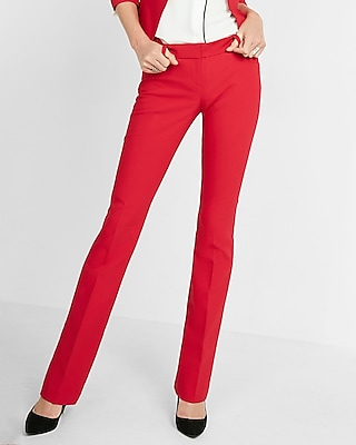 Express Womens Low Rise Barely Boot Columnist Pant Red 16 Short