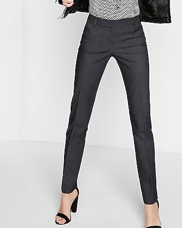 low rise refined denim slim leg columnist pant