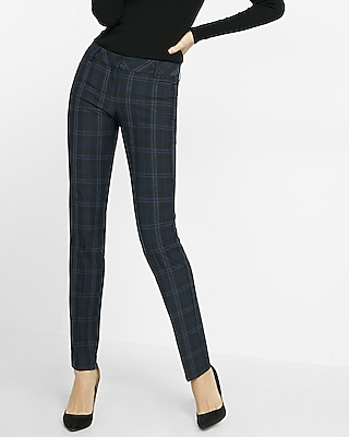 Express Womens Slim Fit Plaid Columnist Pant