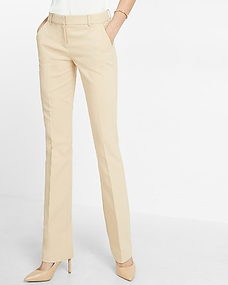 Express Womens Mid Rise Barely Boot Columnist Pant Neutral 00 Short