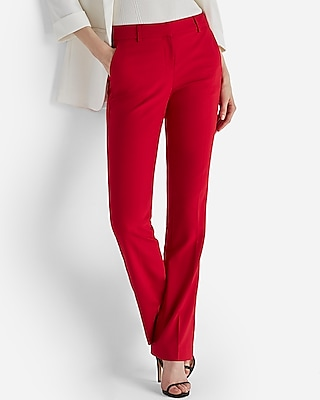 Express Womens Mid Rise Barely Boot Columnist Pant Red 00 Short