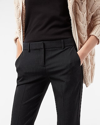 Express Womens Mid Rise Pinstripe Columnist Barely Boot Pant