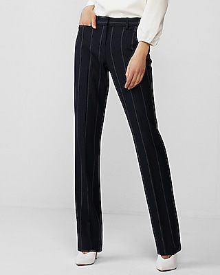 Express Womens Mid Rise Striped Columnist Barely Boot Pant