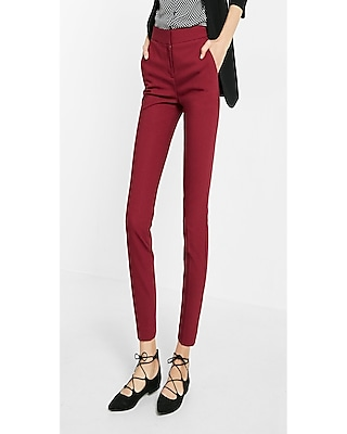 Express Womens Mid Rise Columnist Ankle Pant Red 00