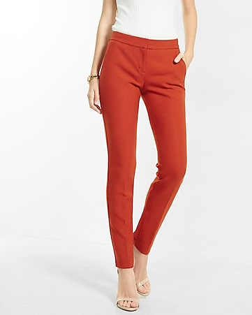 mid rise columnist ankle double weave pant