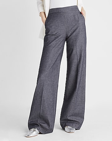 high waisted striped wide leg pant