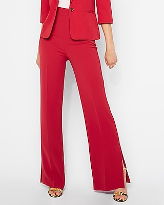 Express Womens Super High Waisted Side Slit Wide Leg Pant Red Women's 00 Red 00