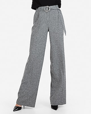 Express Womens High Waisted O-Ring Belted Wide Leg Dress Pant