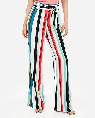 Express Womens High Waisted Multi Stripe Paperbag Wide Leg Pant