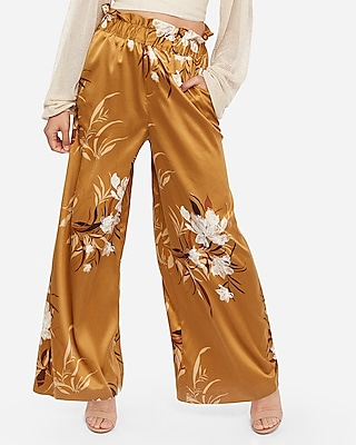 Express Womens Rocky Barnes High Waisted Satin Floral Wide Leg Palazzo Pant Floral Print Women's Xs Floral Print Xs