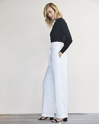 Express Womens Karlie Kloss Wide Leg Belted Dress Pant
