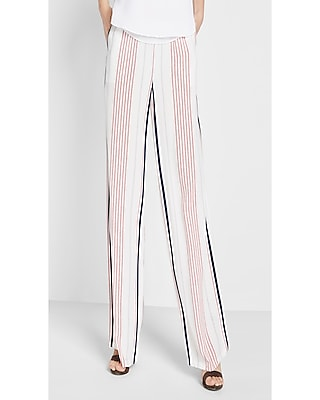 Express Womens Petite Mid Rise Stripe Wide Leg Dress Pant