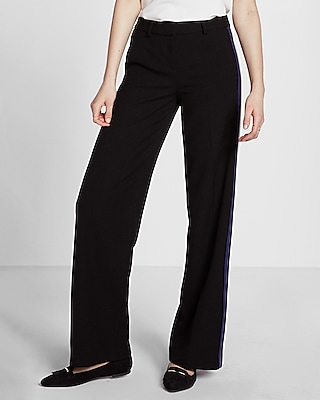 Express Womens Mid Rise Side Stripe Wide Leg Pant