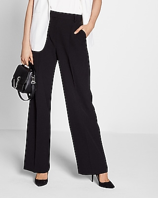 Express Womens Mid Rise Front Pleat Wide Leg Pant