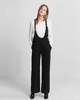 Express Womens Soft Crepe Wide Leg Jumpsuit