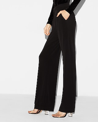 Express Womens Petite Mid Rise Knit Wide Leg Pant