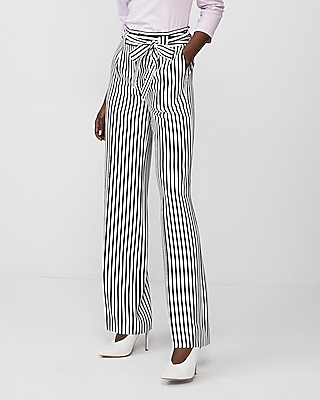 Express Womens Striped High Waisted Sash Tie Wide Leg Pant