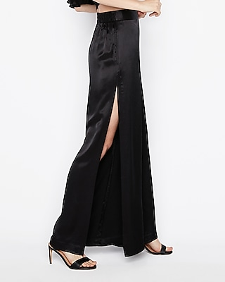 Express Womens High Waisted Side Slit Wide Leg Pant