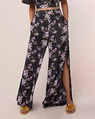Express Womens High Waisted Floral Side Slit Wide Leg Pant