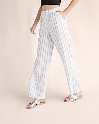 Express Womens Mid Rise Striped Pleated Wide Leg Dress Pant