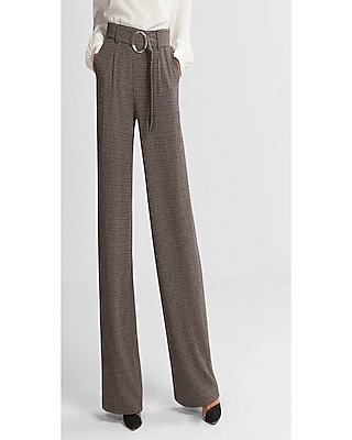 Express Womens Petite Mid Rise Belted Wide Leg Pant