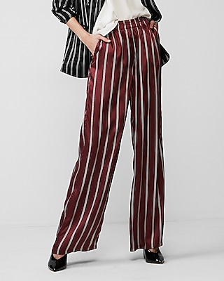 Express Womens Mid Rise Stripe Wide Leg Pant