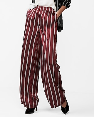 Express Womens Petite Mid Rise Striped Wide Leg Dress Pants