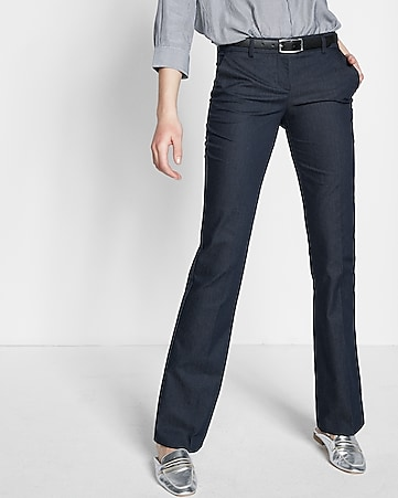 low rise notch back slim flare editor pant