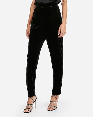 Express Womens Super High Waisted Velvet Ankle Pant Black Women's Xxs Black Xxs