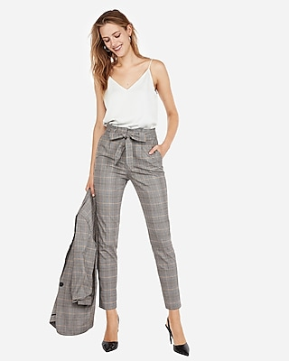 Express Womens High Waisted Plaid Paperbag Ankle Pant Gray Women's 18 Short Gray 18 Short