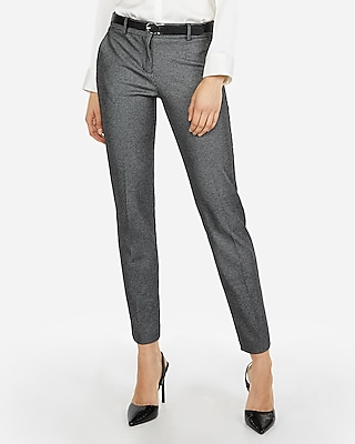 Express Womens Mid Rise Thin Stripe Columnist Ankle Pant Black And White Women's 4 Long Black And White 4 Long