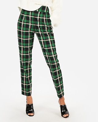 Express Womens High Waisted Plaid Pleated Ankle Pant