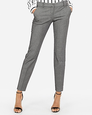 Express Womens Low Rise Columnist Ankle Twill Pant Black And White Women's 18 Long Black And White 18 Long