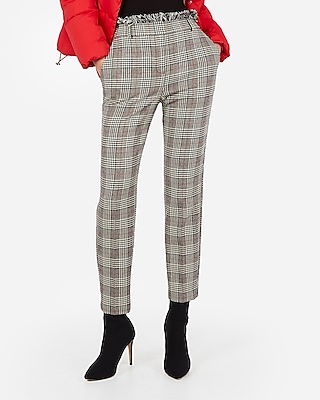 Express Womens High Waisted Plaid Frayed Ankle Pant Plaid Women's 14 Long Plaid 14 Long