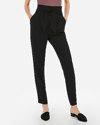 Express Womens Super High Waisted Tie Front Ankle Pant Black Women's 10 Black 10