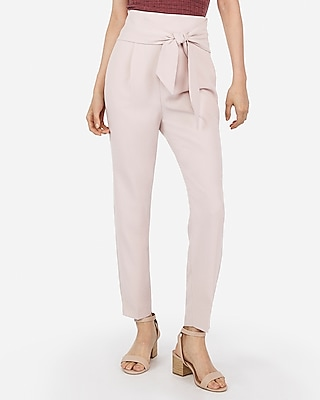 Express Womens Super High Waisted Tie Front Ankle Pant