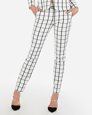Express Womens Mid Rise Ankle Windowpane Print Columnist Pant White Women's 4 Short White 4 Short