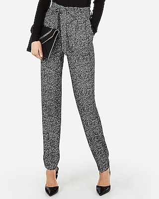 Express Womens High Waisted Printed Paperbag Ankle Pant